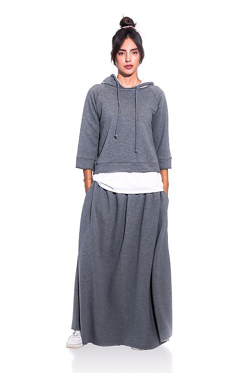 LONG FLARED SWEAT SKIRT
