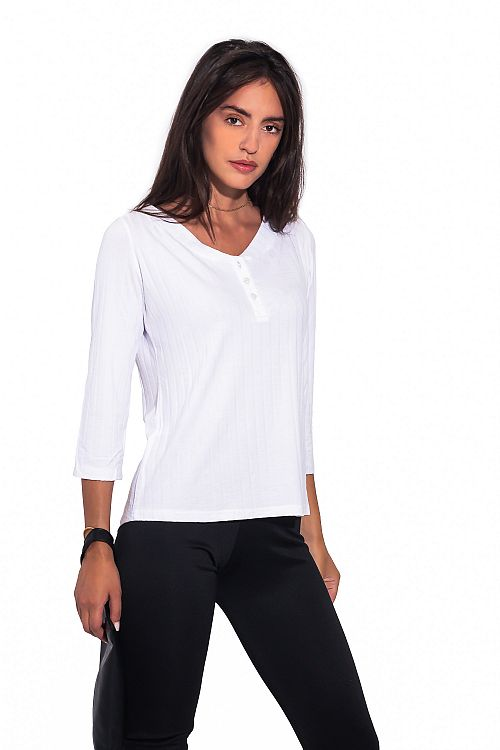 LONG SLEEVES RIBBED TOP WITH BUTTONS