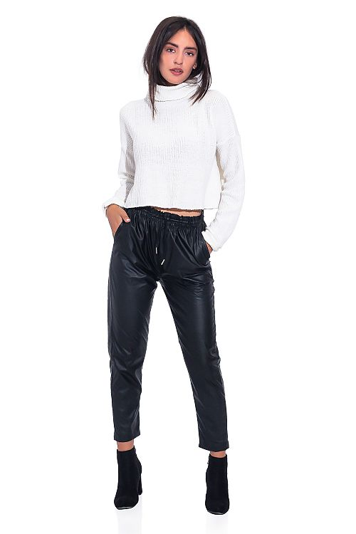 ECO LEATHER BLACK PANTS