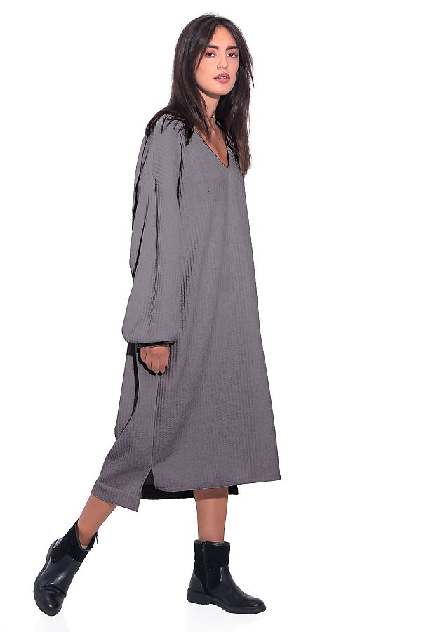 LONG CASUAL DRESS WITH V NECK