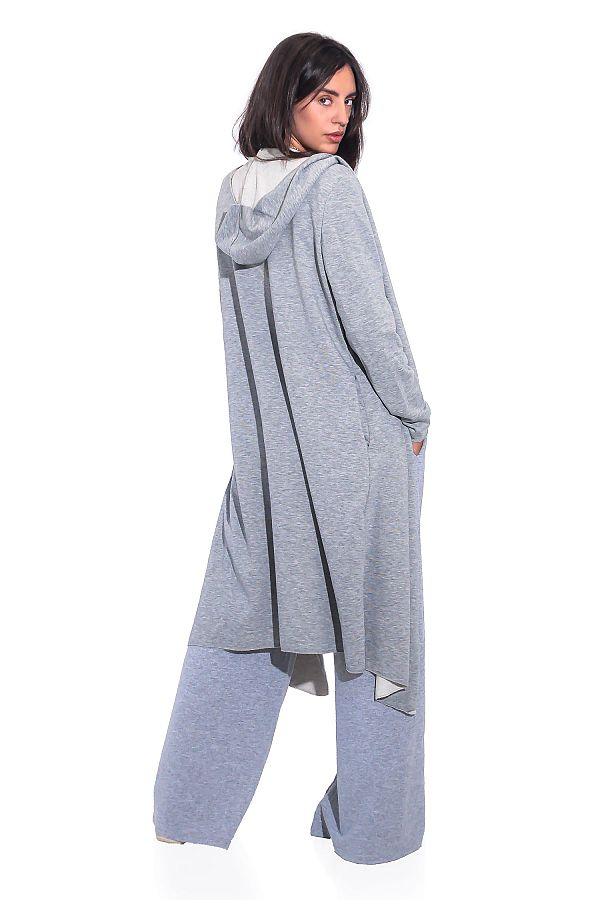 LONG HOODED SWEATSHIRT CARDIGAN