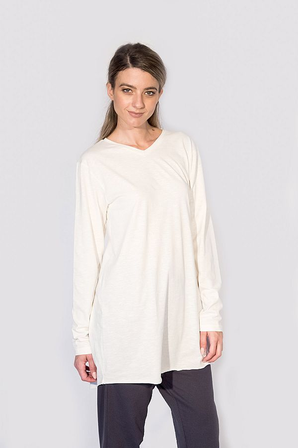 V NECK TOP WITH LONG SLEEVES